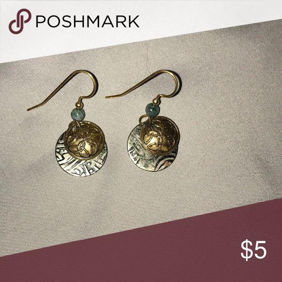 Aztec earrings Blue/silver/gold earrings Jewelry Earrings