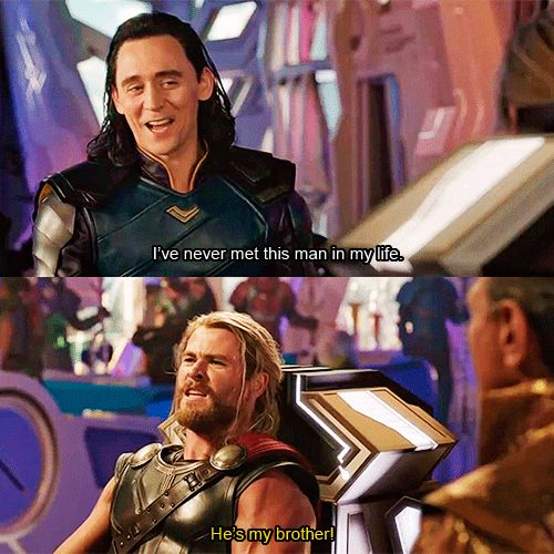 "Look at Loki's amused face. I love that we get to see more of Thor and Loki's relationship in this movie ""I've never met him before"" yeah right Loki"