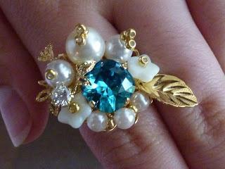 pearl and Swarovski ring