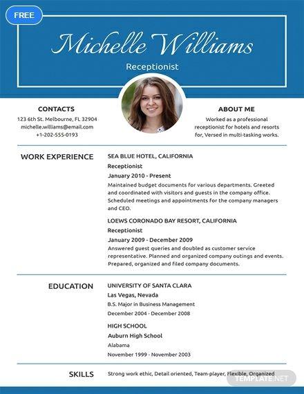Free Basic Receptionist Resume | Job Hunting & Interviews | Resume