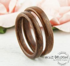 Minimalistische Eheringe aus Holz / minimalist wedding rings made of wood made by Holz-Design-Germany via DaWanda.com