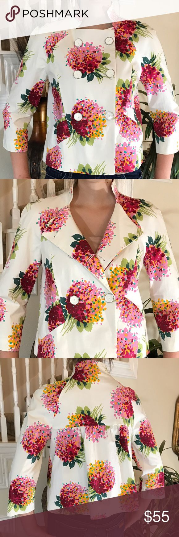 Zara Double Breast floral jacket This Zara is presh! It features a stand up collar, 6 button double breast, fully lined, 2 slit pockets, swing style with soft gathers in the back and in perfect condition 100-% cotton attached extra button Zara Jackets & Coats