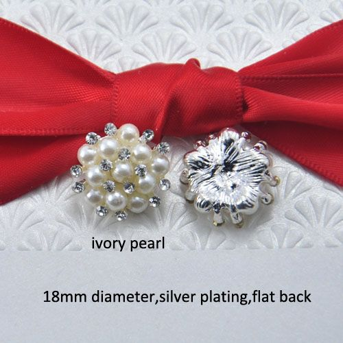 (S0321) 18mm diameter Rhinestone embellishment( snowflake shape),silver plating,ivory or pure white pearl, flat back