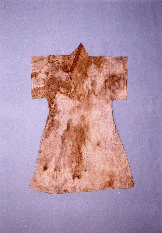 "A coat with a straight collar and short sleeves (dapho), from the ""tomb of Go Un (1479-1530), a leading figure representing the Neo-Confucian literati based in the Honam (Jeolla) region during the mid-Joseon Dynasty.... Made of cotton, ramie and silk, the clothes appear to have been worn by Go Un while he was alive."" Important Folklore Cultural Heritage 239."