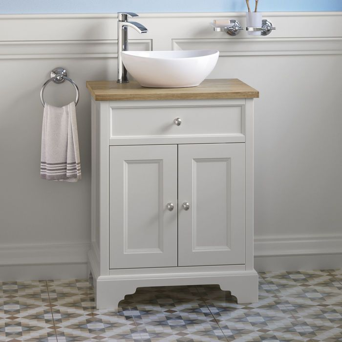 600mm Loxley Chalk Countertop Unit Camila Basin Floor Standing Small Bathroom Countertop Traditional Bathroom Vanity Sink Vanity Unit