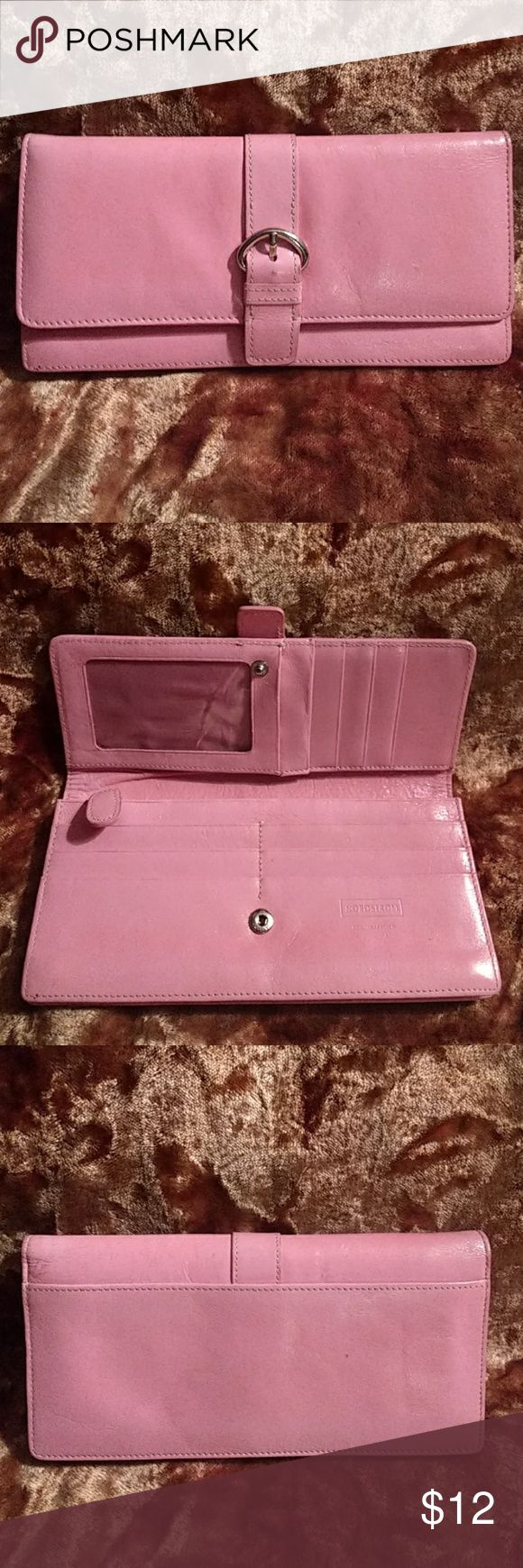 Pink Leather Nordstrom's Wallet Really Cute Great Looking wallet, Credit Card slots,ID window. zip change holder Pocket on back. Snap, Silver buckle strap design detail.Last picture shows repair. Used Good Condition. Nordstrom Bags Wallets