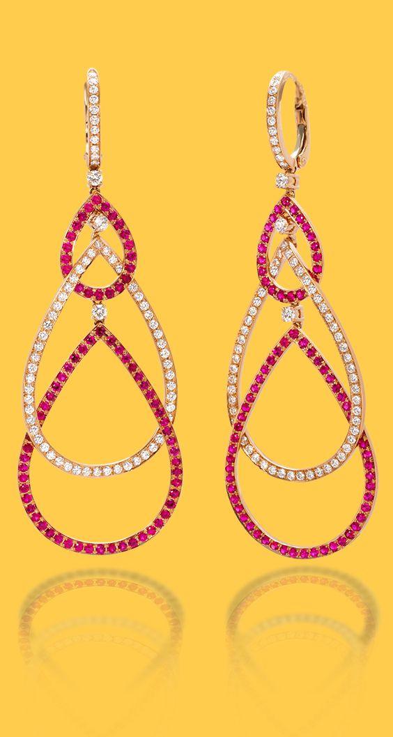 4bdd395e6 de Boulle Collection Interlocking Ruby Pear Earrings | de Boulle Earrings