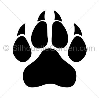 Panther paw print silhouette clip art. Download free versions of the image in EPS, JPG, PDF, PNG, and SVG formats at http://silhouettegarden.com/download/panther-paw-print-silhouette/