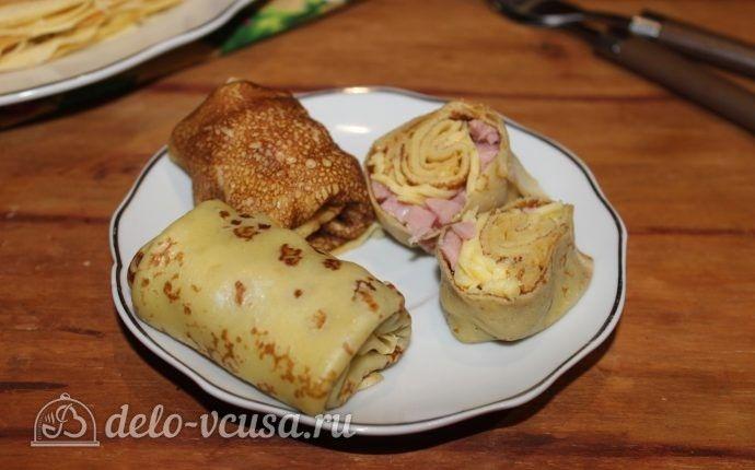 Блины с ветчиной и сыром  https://delo-vcusa.ru/recept/bliny-s-vetchinoj-i-syrom/  #деловкуса #блины #ветчина #сыр #готовимсделовкуса #рецепты #вкусно #еда #блинчики