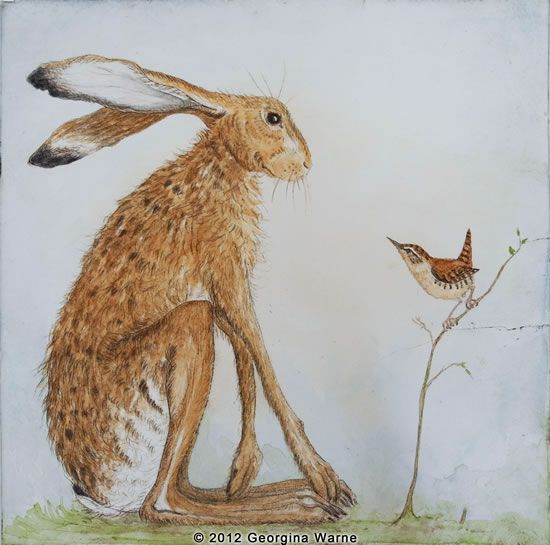 Intaglio print photo Georgina Warren 'Hare and Wren'