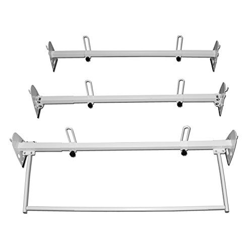 AA-Racks Fullsize Van Three Bar Ladder Roof Racks Steel White Rack With Middle Adjustable Bar