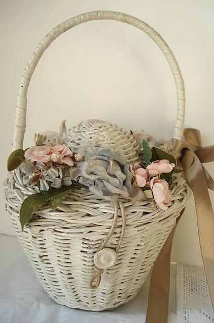 Vintage Wicker Basket with Millinery Flowers