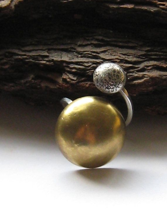 Sun and Moon Ring.  Galaxy Collection.  Sterling Silver and Brass by ZaZing, NZ$85.00