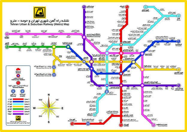 نقشه جدید ایستگاه ها و خطوط مترو تهران Metro Map Map Metro