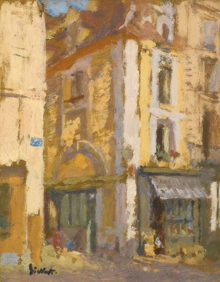 Walter Sickert (British, 1860-1942), A Street Corner, Dieppe, c.1902-03. Oil on board, 9½ x 7¼ in.