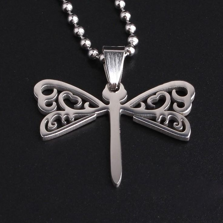Silvery hollow Dragonfly 316L Stainless Steel pendant necklaces