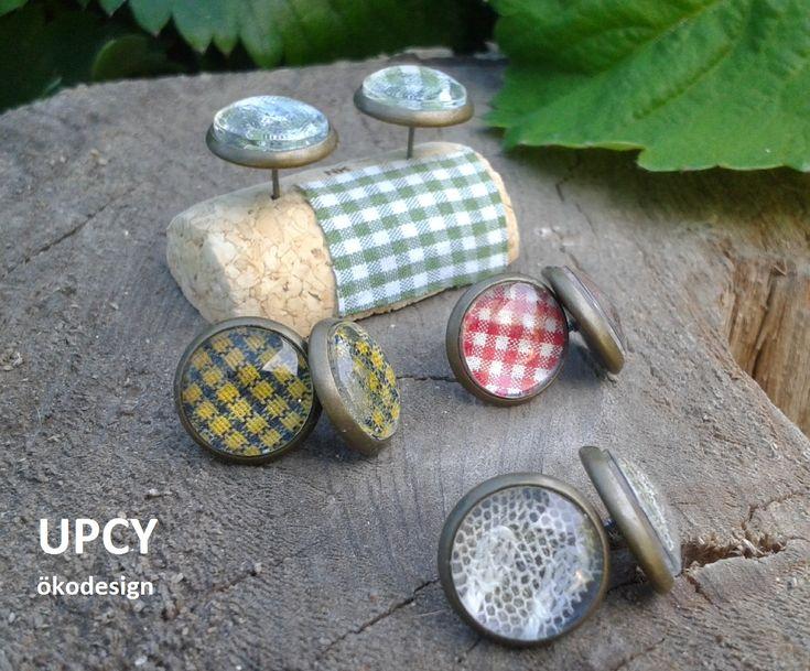 Üveglencse fülbevaló, csipke vagy ing újrahasznosítás - Glass dome earring with upcycled shirt or lace