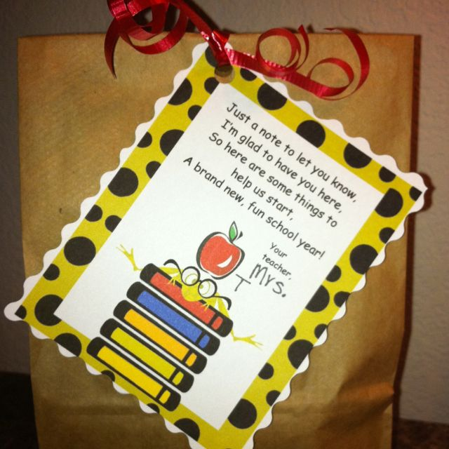Beginning of the year goodie bags! Filled with a cool pencil, erasers, pencil grip, stickers and Smarties candies!