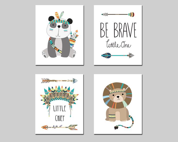 Boy nursery tribal printable wall art set be brave little one, little chief kids room lion panda tribal art, playroom wall decor download by AlexanderAndJJ on Etsy