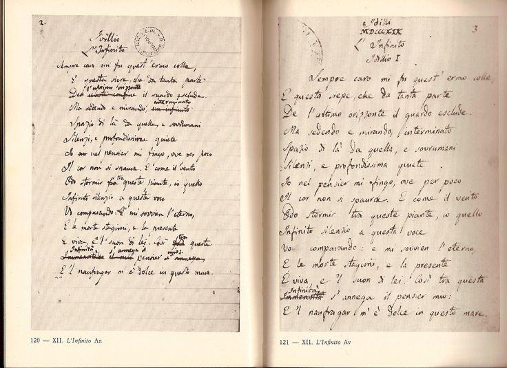"""L'infinito. Lettera a Giuseppe Melchiorri, marzo '24: """"Io non ho mai scritto in mia vita se non pochissime e brevi poesie. Nello scriverle non ho mai seguito altro che un'ispirazione (o frenesia) sopraggiungendo la quale, in due minuti io formava il disegno e la distribuzione di tutto il componimento. Fatto questo soglio sempre aspettare che mi torni un altro momento di vena, e tornandomi, (che ordinariamente non succede se non di là a qualche mese)......"""