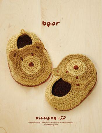 Bear Baby Booties Crochet PATTERN by Kittying.com / Mulu.us