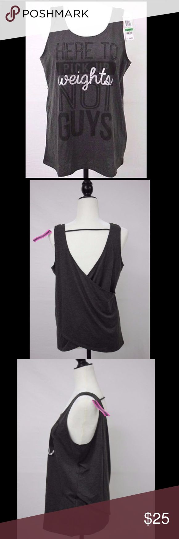 "Here to pick up weights not guys workout shirt Material Girl Gray Athletic Tank ""Here to Pick Up Weights Not Guys"". New with tags. Size medium! Make an offer! Material Girl Tops Tank Tops"