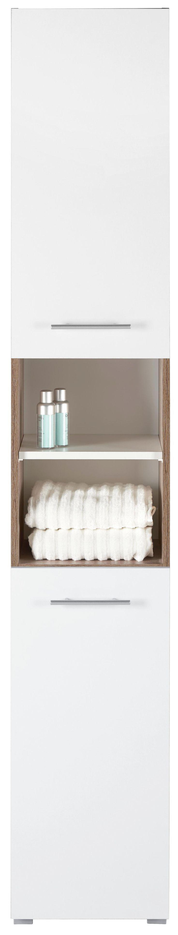 Entdecken Sie mit diesem Badezimmer Hochschrank in Weiß und Natur ein stilvolle…