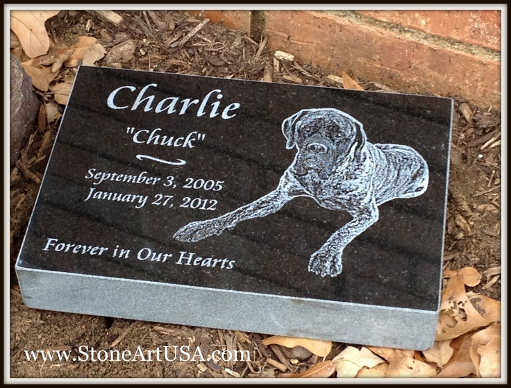 "~ R.I.P. Charlie ~ New Ideas for Pet Grave Stones ... 12""x8""x2"" granite pet memorial marker by StoneArtUSA.com ... Custom made memorial stones & cremation urns for pets. The granite is laser etched with your pet's photo and your words. Markers will stay beautiful for generations in the yard or cemetery. Memorial stones can be made for people too as well as for our beloved dogs, cats & all pets. See more at www.StoneArtUSA.com Let me know if you have any questions, Eric @ StoneArtUSA"