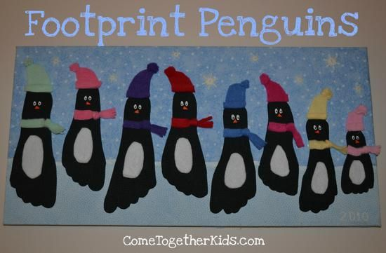 January Craft:footprint penguins Use black construction paper and cut outs for accessories of penguin.