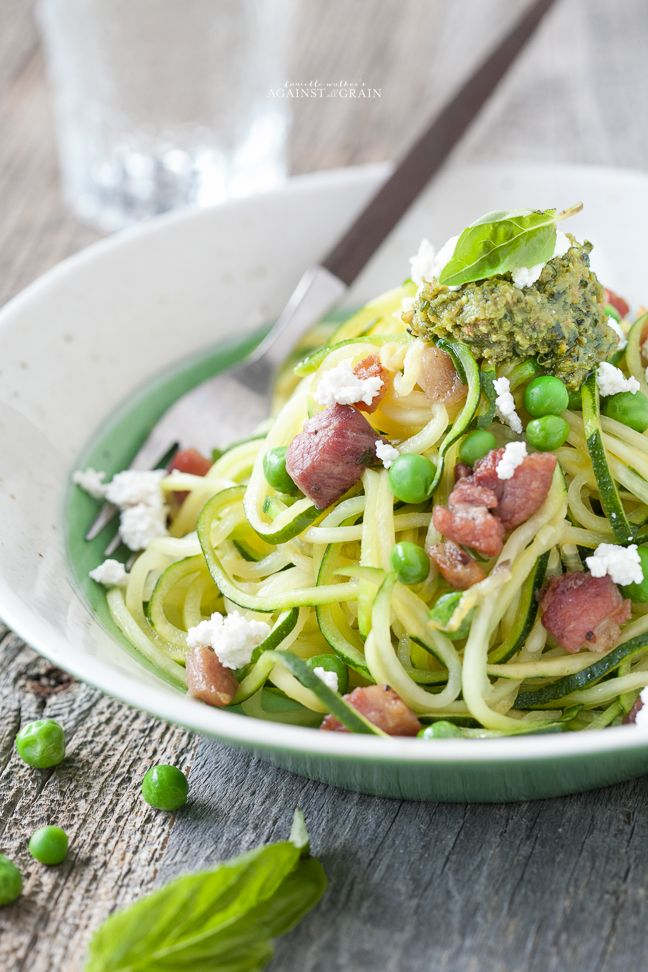 A simple recipe for gluten-free and paleo Spiralized Zucchini Pesto Pasta with Peas and Pancetta.