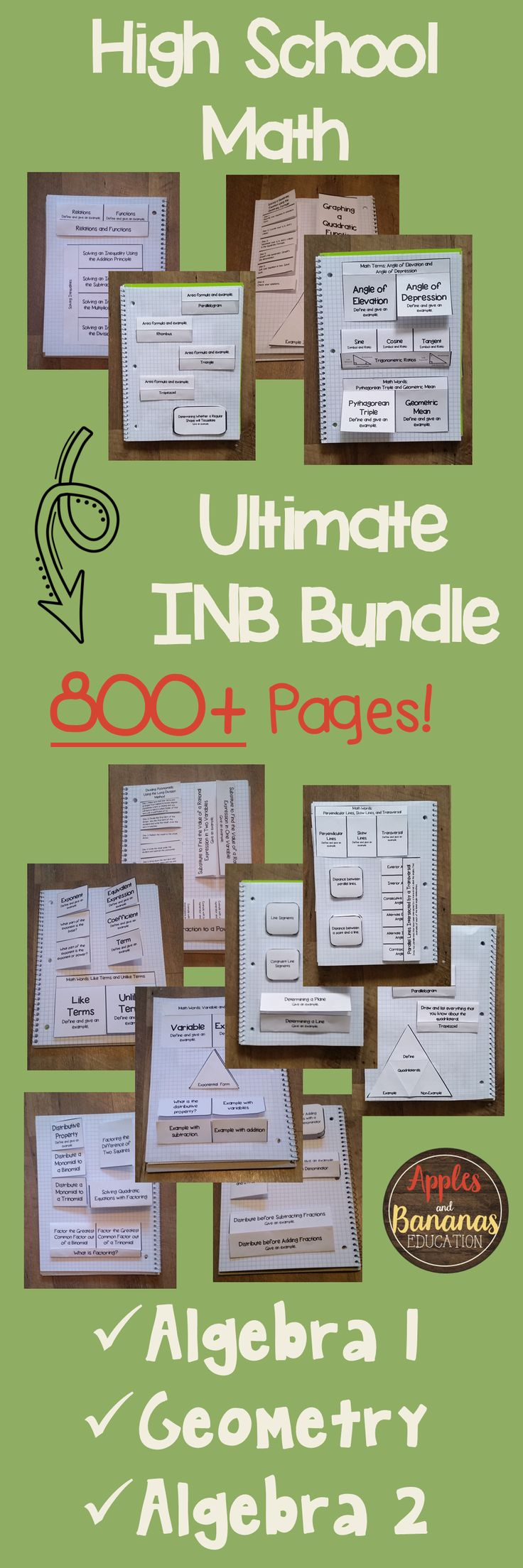 This HUGE (800+ page) bundle contains a full-year of scaffolded notes with keys and INB (interactive notebook activities) for Algebra 1, Algebra 2, and Geometry.  Can also be purchased separately.  Great for reaching all types of learners and supplementing ANY curriculum. #inb #scaffoldednotes #highschoolmath
