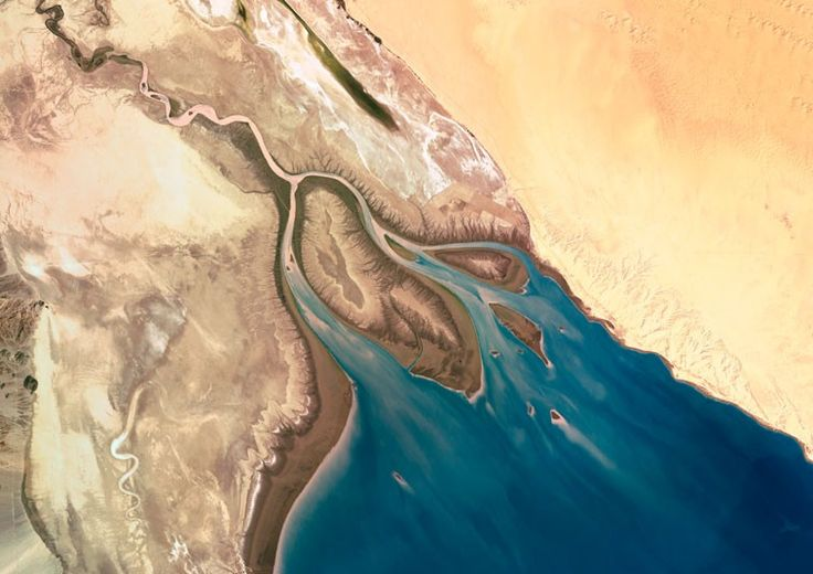 Colorado delta from space (more river deltas from space in the original link)