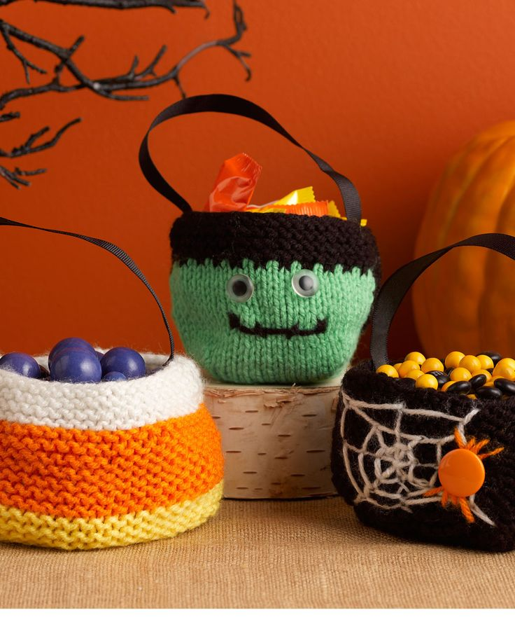 trio of treat bags by christine marie chen halloween knitting pattern candy corn frankenstein spiders spiderweb published in red heart north america - Free Halloween Knitting Patterns