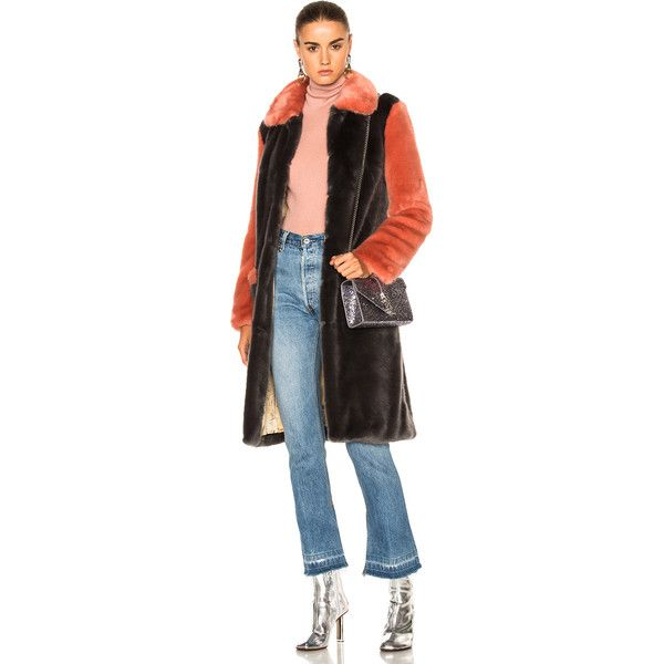 Shrimps Faux Fur Simon Coat (37,930 PHP) ❤ liked on Polyvore featuring outerwear, coats, coats & jackets, fake fur coats, faux fur coat and imitation fur coats