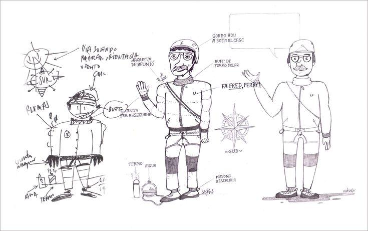 bocetos, sketch, escalada, hivern, infografia
