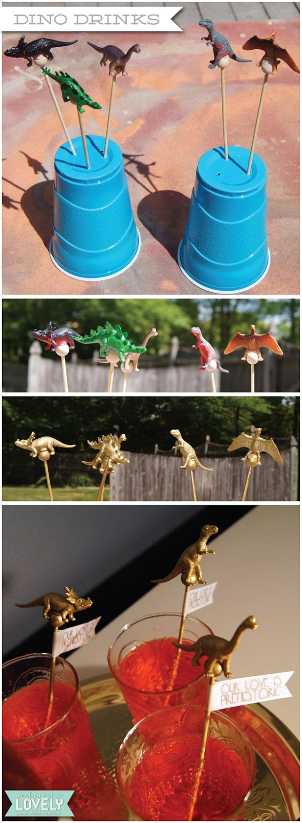 Dinosaur drink stirs, prehistoric wedding theme, mixed drinks, Wouldn't it be Lovely