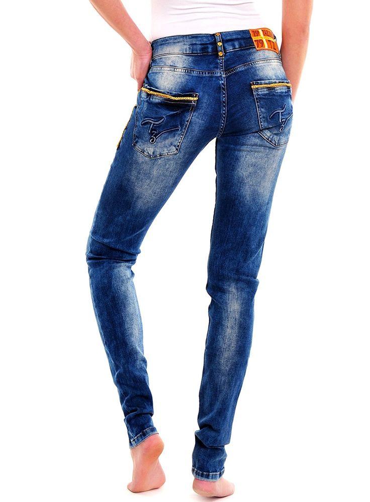 Tazzio Damen Jeans High Waist Bleached Style Röhren Jeanshose TZ-6014 Blau