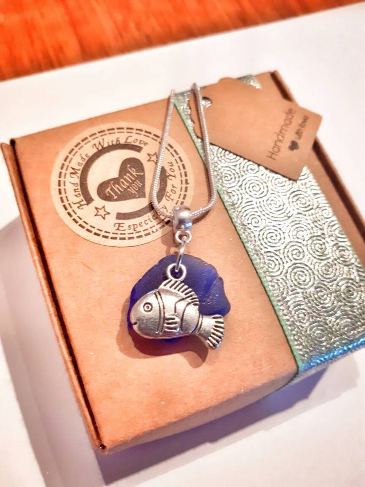 Pretty Blue seaglass & cute silver fish charm on a silver chain necklace,Irish sea glass, Ireland nautical gift - Irish jewellery gift ideas by MelcooDesigns on Etsy