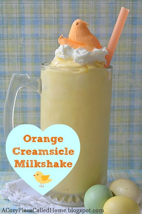 Orange Creamsicle Milkshake (Gluten Free)  5 cups vanilla ice cream  3/4 cup frozen orange juice concentrate (Do not thaw or dilute.)  2-3 cups milk (Depends on your desired consistency.) 6 tablespoons sugar Whipped cream (optional) Orange peep (optional)  1. Add ice cream, orange juice concentrate, milk, and sugar in a blender. Blend until the mixture is to your desired consistency.