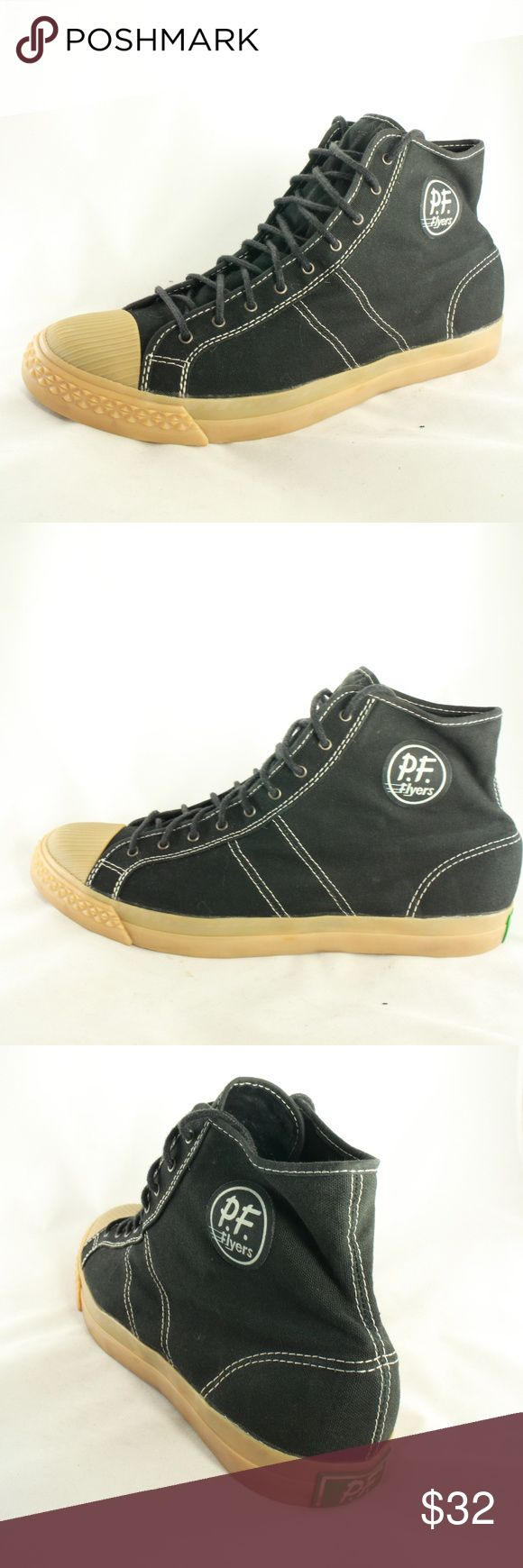 NEW PF FLYERS Black Canvas Hi Tops with Gum Sole Perfectly mint black canvas classic hi tops. New, never worn.  Size 12 Men Size 13.5 Women PF Flyers Shoes Sneakers