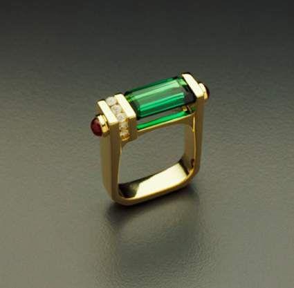 18K Rings - Green Tourmaline Ring