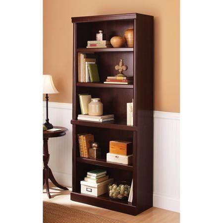 NEW! 5 Shelf Cherry Bookcase Wooden Book Case Storage Shelves Wood Bookshelf #BetterHomesandGardens