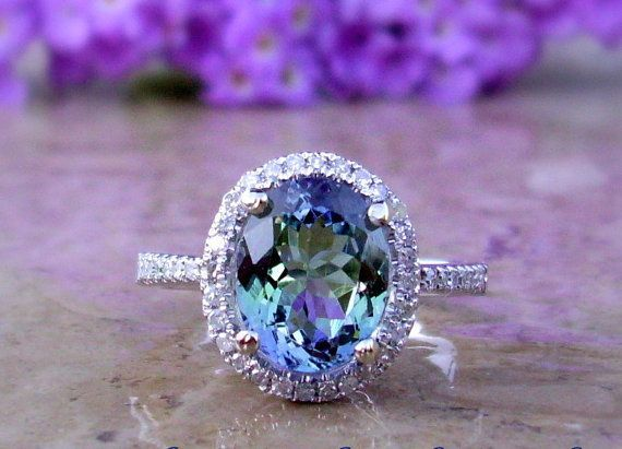 Tanzanite and Diamond Ring set in 14kt White Gold, tanzanite ring, engagement ring, custom ring, bridal jewelry, tanzanite jewelry