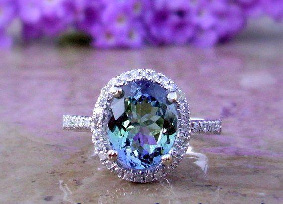 Tanzanite Engagement Ring, Tanzanite and Diamond Ring, Custom Order