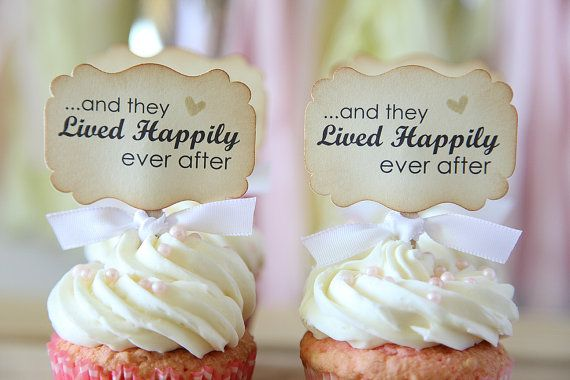 Wedding Cupcake toppers And they lived happily ever after by Unify, $9.00