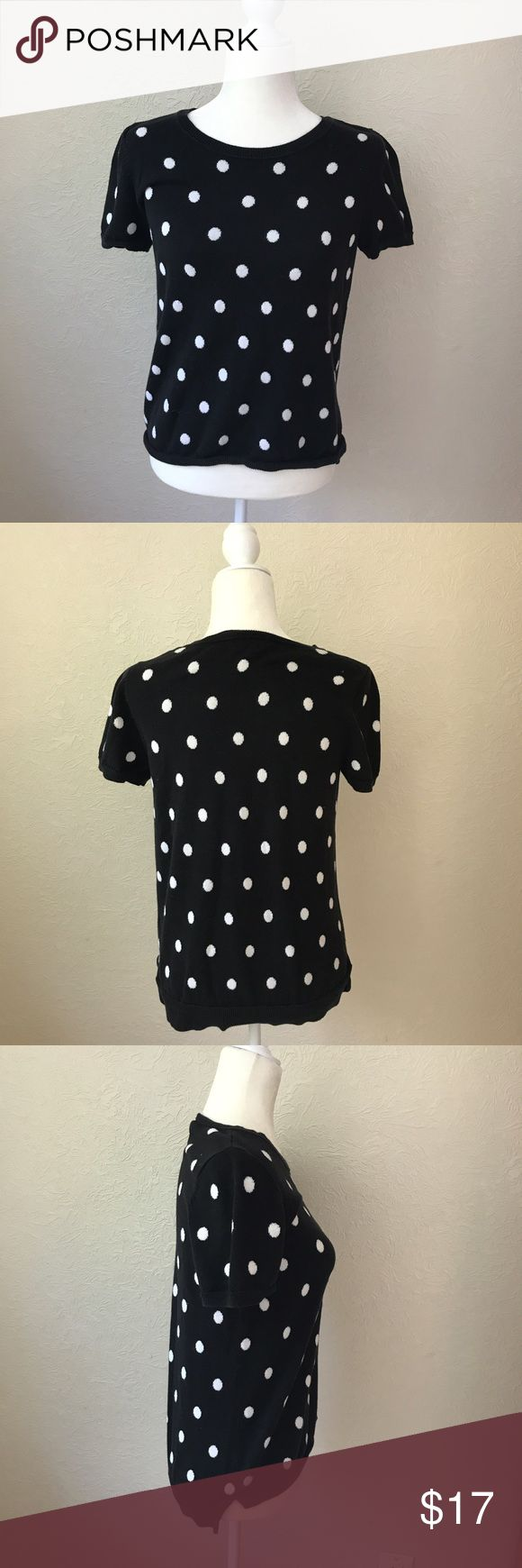 The Limited Hi-low polka dot short sleeve sweater Hi-low The Limited short sleeve sweater. Black with white polka dots. Size medium. 100% cotton. EXCELLENT condition! No rips, stains or tears! Front length is about 22.5 inches and the back length is approx 24.5 inches. The bust is about 17.75 inches (from armpit to armpit) The Limited Tops