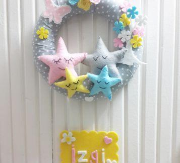 Yıldız Ailesi Temali Bebek Kapı Süsü