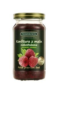 Konfitura z malin. Raspberry jam. Do konfitury trafiaja dojrzałe owoce malin, zebrane na ekologicznie czystych terenach. Na każde 100 gram produktu przypada aż 69 gram świeżych malin i ich soku. To sprawia, że konfitura malinowa jest bardzo bogata w owoce, nie zaś w żele i wypełniacze. W tej konfiturze doskonale wyczuwalny jest smak i zapach malin, ponieważ cukier podany w optymalnie małej porcji, nie przytłacza jej smaku.