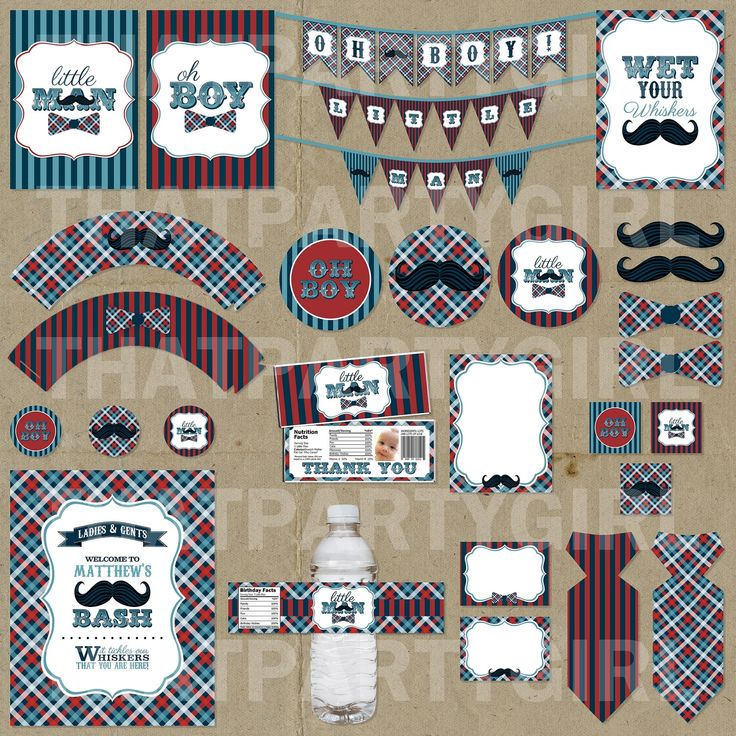 Little Man Birthday Party Printables: navy, red, teal -- stripes and plaid  {That Party Girl via Etsy}
