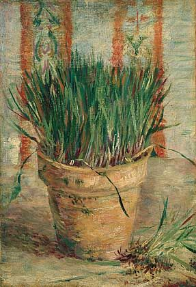 """Vincent Van Gogh, """"Flowerpot with Chives,"""" 1887  (For more stunning food art: http://blog.uncommongoods.com/2012/thanksgiving-cornucopia-food-art/)"""